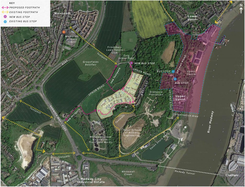 Upper Upnor Esquire Development Map with path routes and public transport